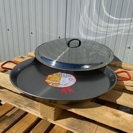 Plat à Paella Garcima acier 55cm + couvercle inox pour 16 personnes