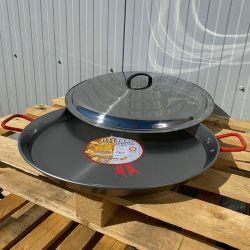 Plat à Paella Garcima acier 50cm + couvercle inox pour 14 personnes