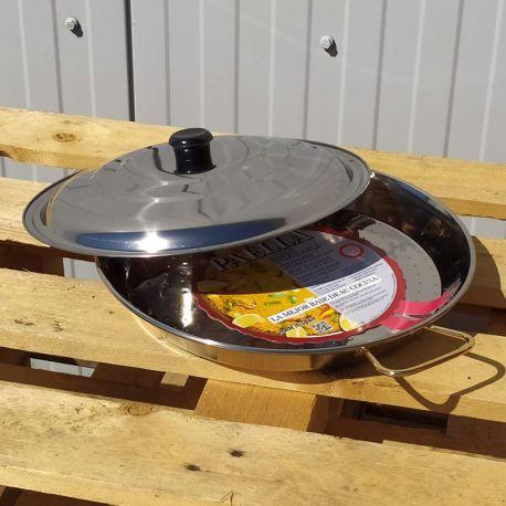 Plat à Paella 34cm en inox + couvercle inox pour 6 personnes