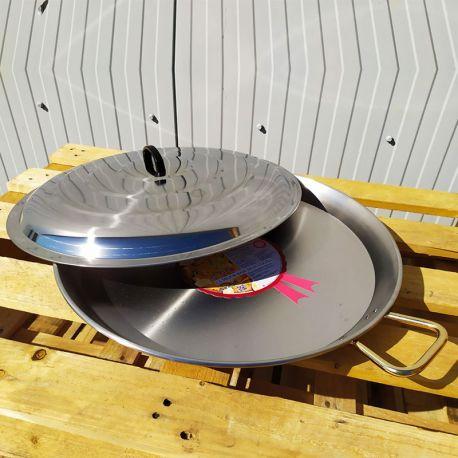 Plat à Paella 42cm en inox + couvercle inox pour 11 personnes