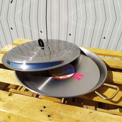 Plat à Paella 40cm en inox + couvercle inox pour 10 personnes