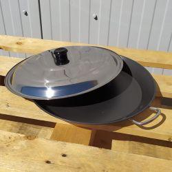 Plat à paella Induction en inox anti-adhésive 50cm + couvercle inox pour 14 personnes