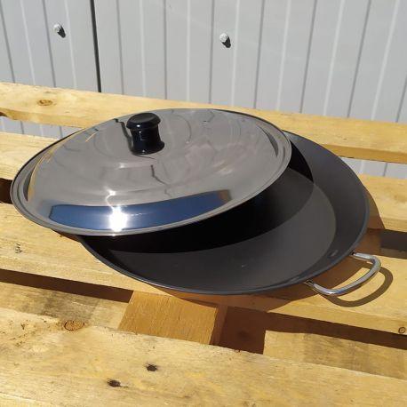 Plat à paella Induction en inox anti-adhésive 50cm + couvercle pour 15 personnes
