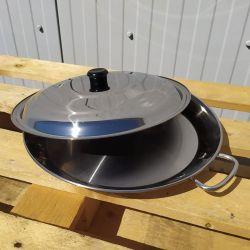 Plat à Paella inox 32cm spécial induction + couvercle pour 5 personnes