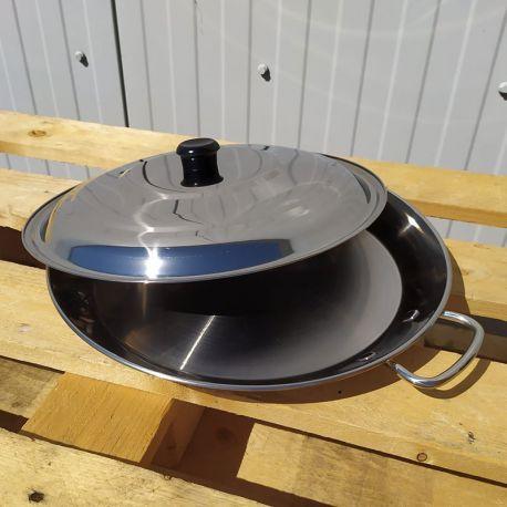 Plat à Paella inox 50cm spécial induction + couvercle pour 15 personnes