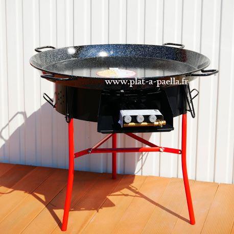 Kit à paella -bbq70 pour 50 personnes - Plat émaillé - veilleuse - thermocouple