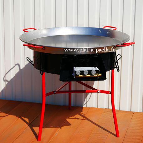 Kit à paella -bbq70 pour 50 personnes - Plat acier- veilleuse - thermocouple