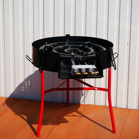 Kit cuisson -bbq70 - Plat fonte 80cm - 1 séparation - rechaud pro