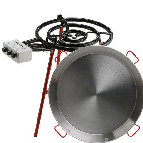 Kit à paella pour 50 personnes - Poêle acier brûleur pro