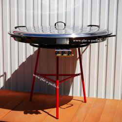 Kit à paella pour 120 personnes - poêle émaillée 115cm avec couvercle