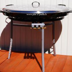 Kit à paella Pro pour 120 personnes - poêle émaillée 115cm avec couvercle