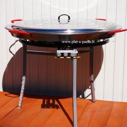 Kit à paella Pro pour 120 personnes - poêle acier 115cm avec couvercle