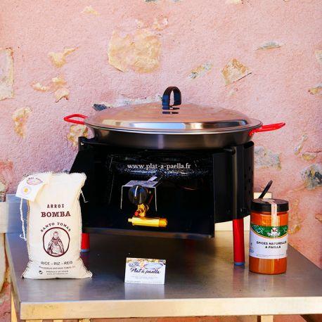 Kit à paella -bbq40 pour 10 personnes - Plat Acier - Couvercle - Thermocouple