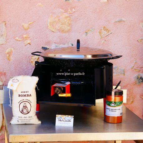 Kit à paella -bbq40 pour 10 personnes - Plat emaillé - Couvercle