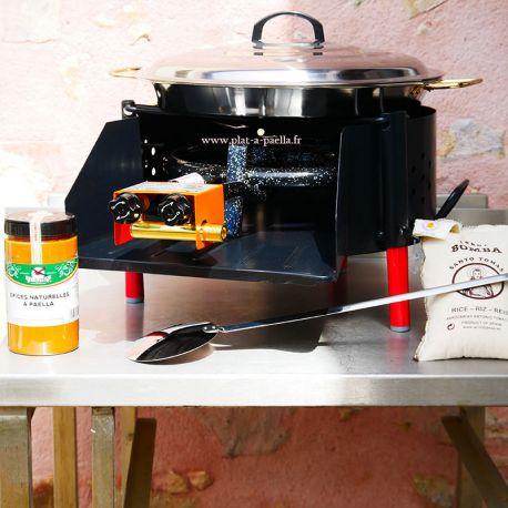 Kit à paella -bbq40 pour 10 personnes - Plat inox - Couvercle