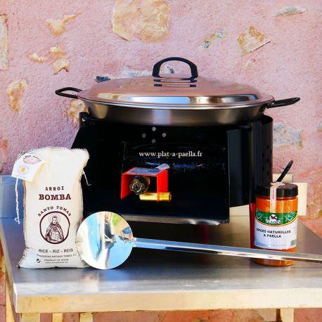 Kit à paella -bbq40 10 personnes - Plat acier Pata negra- Couvercle