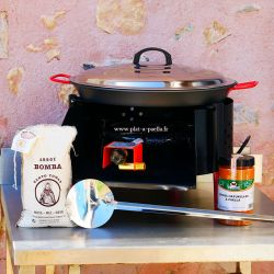 Kit à paella -bbq40 pour 12 personnes - Plat antiadhérent - Couvercle