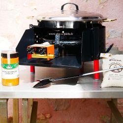 Kit à paella -bbq40 pour 12 personnes - Plat inox - Couvercle