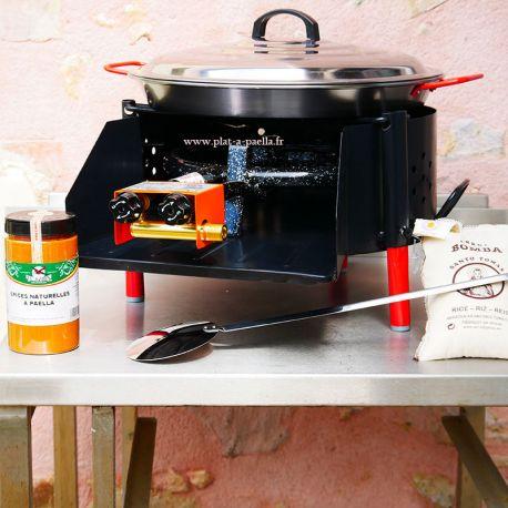 Kit à paella -bbq40 pour 14 personnes - Plat Acier - Couvercle