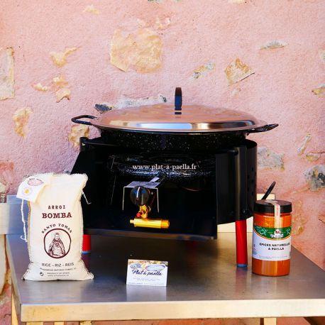 Kit à paella -bbq40 pour 14 personnes - Plat emaillé - Couvercle - Thermocouple