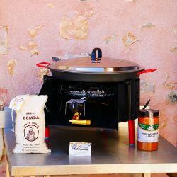 Kit à paella -bbq40 pour 14 personnes - Plat antiadhérent - Couvercle - Thermocouple