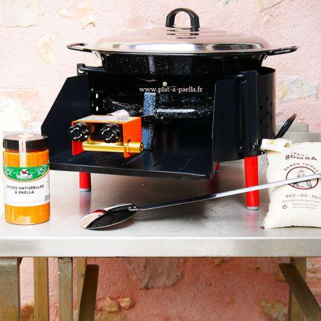 Kit à paella -bbq40 pour 14 personnes - Plat emaillé - Couvercle