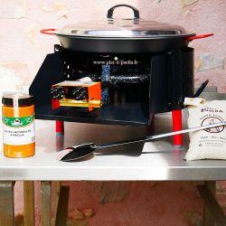 Kit à paella -bbq40 pour 14 personnes - Plat antiadhérent - Couvercle