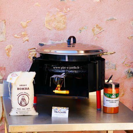 Kit à paella -bbq40 pour 14 personnes - Plat inox - Couvercle - Thermocouple