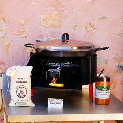 Kit à paella -bbq40 14 personnes - Plat acier Pata Negra- Couvercle - Thermocouple
