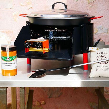 Kit à paella -bbq40 pour 16 personnes - Plat antiadhérent - Couvercle