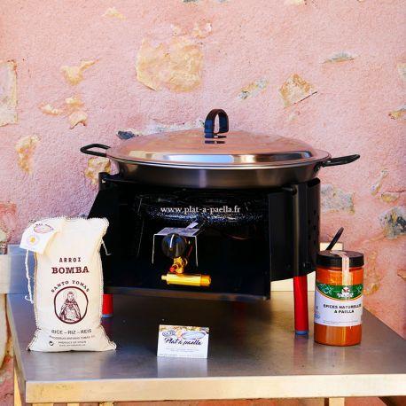Kit à paella -bbq40 16 personnes - Plat acier Pata Negra- Couvercle - Thermocouple