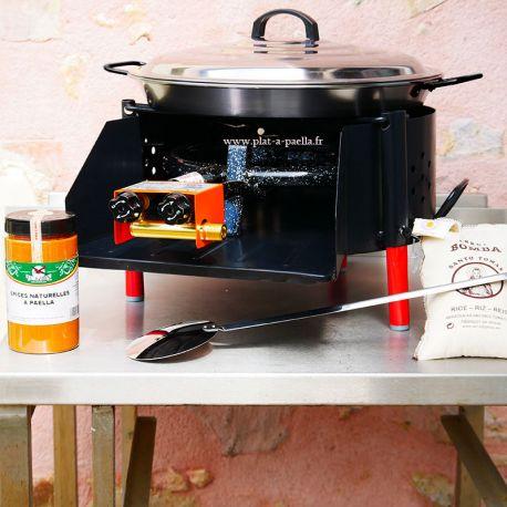 Kit à paella -bb540 20 personnes - Plat acier Pata Negra- Couvercle - Thermocouple