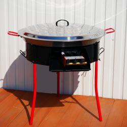 Kit à paella -bbq60 pour 25 personnes - Plat acier 65cm Avec COUVERCLE INOX