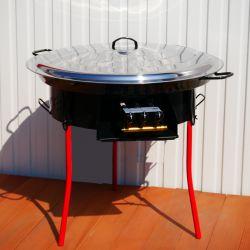 Kit à paella -bbq60 pour 25 personnes - Plat émaillé 65cm AVEC COUVERCLE INOX