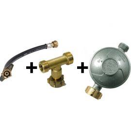 kit de couplage 2 bouteilles de gaz, lyre + T + détendeur butane